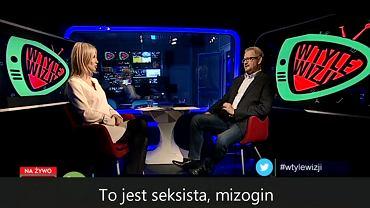 Magdalena Ogórek i Rafał Ziemkiewicz w programie 'W tyle wizji' w TVP Info z 15 lutego 2018 r.