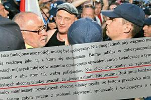 List policjanta od miesięcznic: Nie chcę, aby osoby przychylne władzy uważały, że jestem z nimi