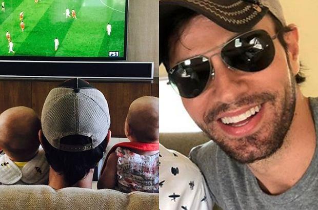 Enrique Iglesias oraz Anna Kurnikowa bacznie obserwują zmagania piłkarzy podczas Mundialu 2018. Piosenkarz kibicuje wraz ze swoimi bliźniakami. Urocze!