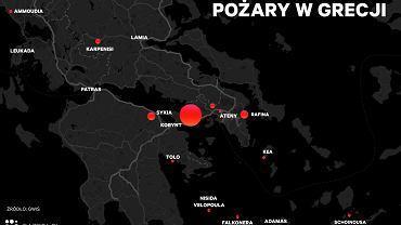 Pożary w Grecji, stan na 24 lipca godz. 12