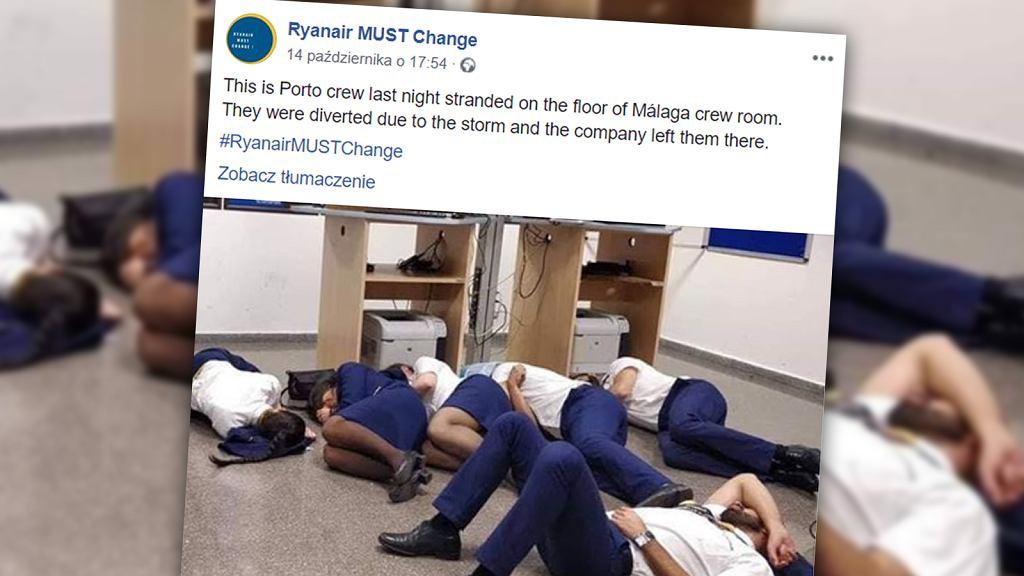 Pracownicy linii lotniczych Ryanair śpią na podłodze w pokoju biurowym na lotnisku w Maladze