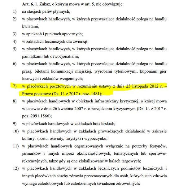 Lista wyjątków w ustawie o zakazie handlu w niedziele