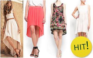 Asymetryczne spódnice i sukienki, krótko z przodu d�ugo z ty�u, trendy lato 2012