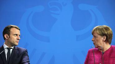 Emmanuel Macron na wczorajszym spotkaniu z niemiecką kanclerz Angelą Merkel
