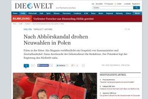 """""""Kryzys w Polsce"""", """"mo�liwe wcze�niejsze wybory"""". �wiatowe media o aferze ta�mowej"""