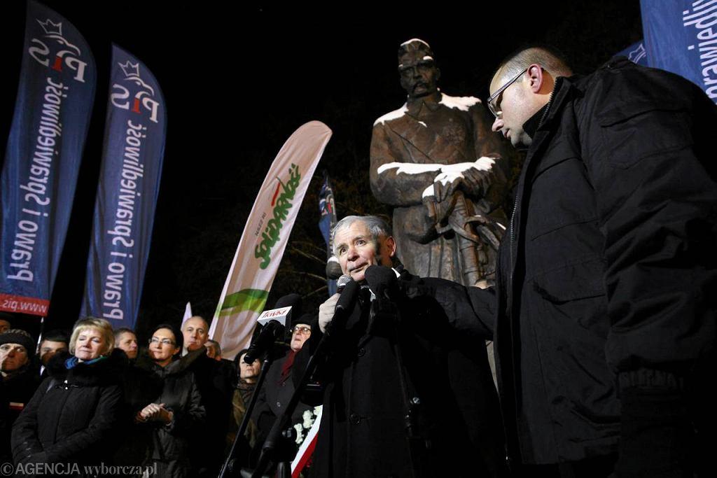 Jarosław Kaczyński podczas marszu w rocznicę wprowadzenia stanu wojennego