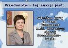 Plakat promujący aukcję, w której można było wylicytować spotkanie przy kawie z Hanną Gronkiewicz-Waltz