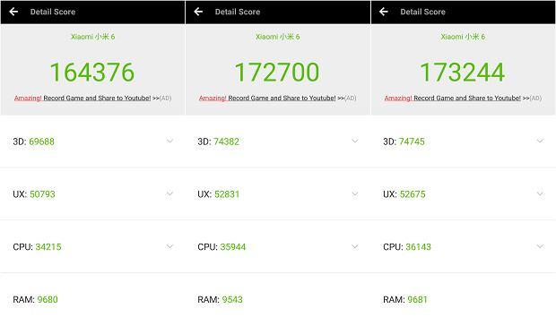Wyniki z AnTuTu w Xiaomi Mi6