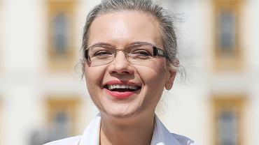 Konferencja prasowa Małgorzaty Wassermann na Rynku Głównym w Krakowie.