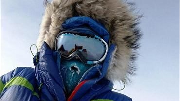 Zdjęcie z 24.01.2017 r. Temperatura powietrza - 34 C. Prędkość wiatru 30 km/godz. Temperatura odczuwalna minus 46 C. 23 km do bieguna