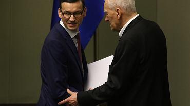 Premier Mateusz Morawiecki i poseł WiS Kornel Morawiecki