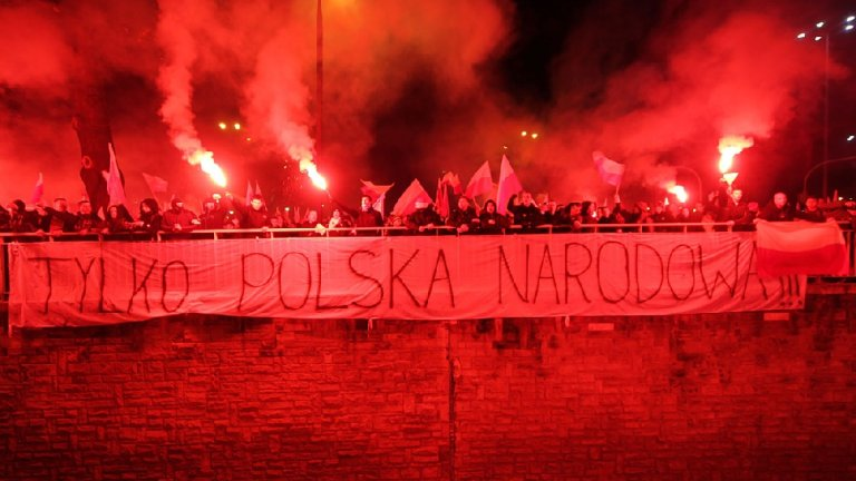 11.11.2012, Święto Niepodległości. Marsz Niepodległości na placu Na Rozdrożu w Warszawie