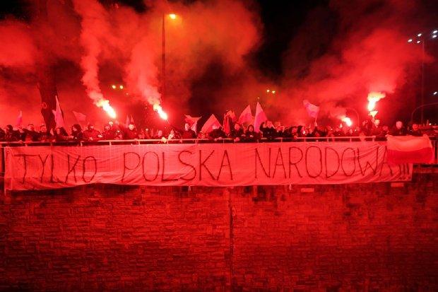 11.11.2012, �wi�to Niepodleg�o�ci. Marsz Niepodleg�o�ci na placu Na Rozdro�u w Warszawie
