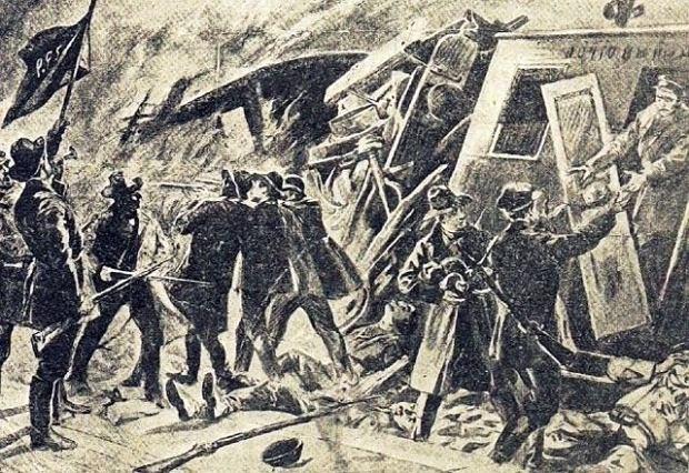 Rysunek przedstawiający akcję pod Rogowem 8 listopada 1906 r. ? na stacji Rogów (ziemia łódzka) członkowie Organizacji Bojowej PPS pod dowództwem Józefa Montwiłła Mireckiego napadli na pociąg i zabrali przewożone pieniądze