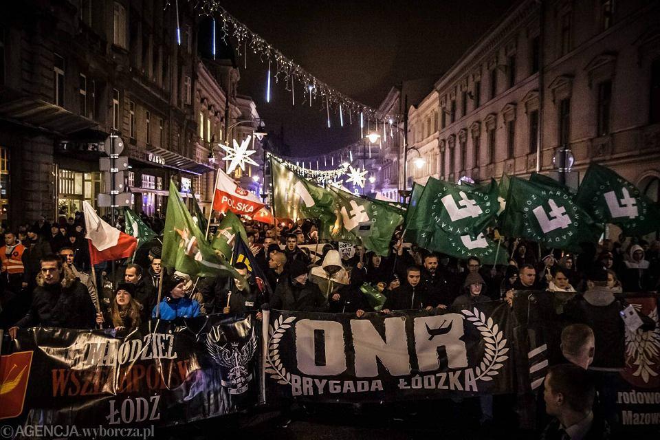 Członkowie i sympatycy ONR podczas demonstracji