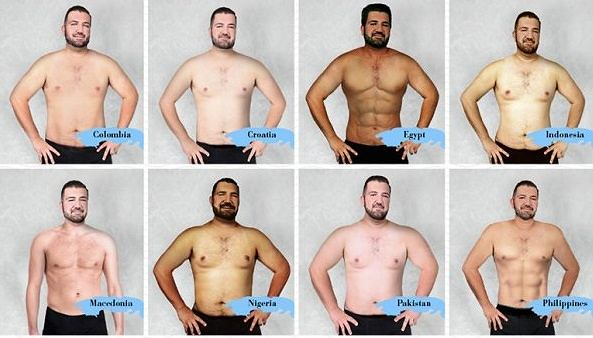 Idealne ciało mężczyzny w 19 krajach