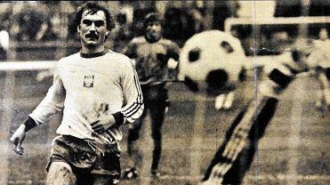 Włodzimierz Mazur podczas meczu z Holandią na Stadionie Śląskim