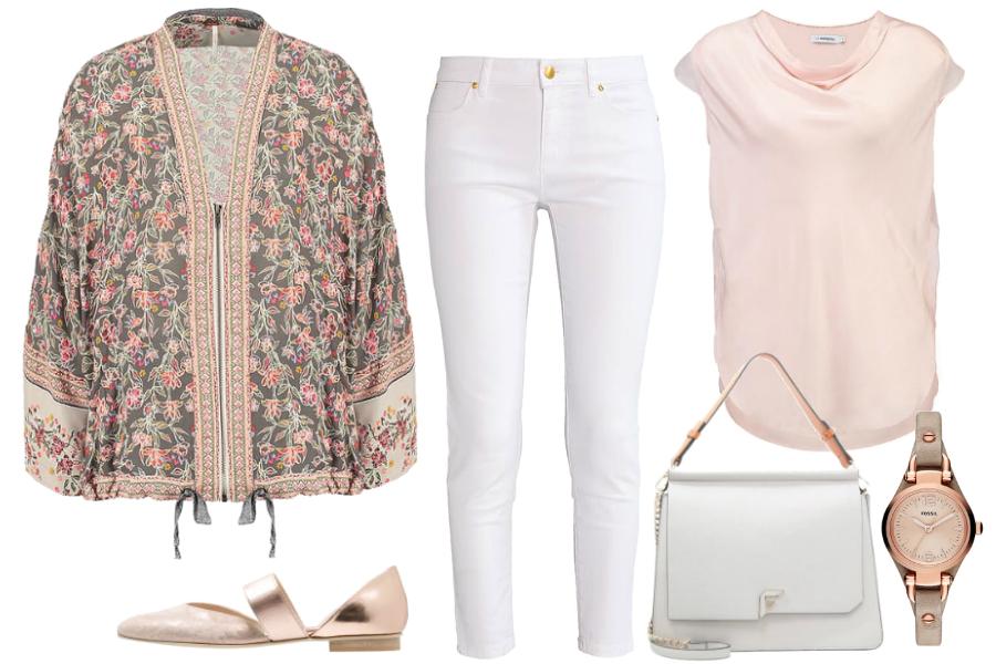 Kimono i białe jeansy / kolaż: mat. partnera