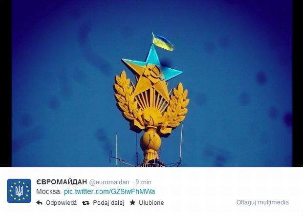Pomalowana w ukraińskie barwy gwiazda