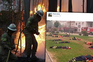 Portugalscy strażacy walczyli z ogniem całą dobę. To zdjęcie pokazuje ich ogromny wysiłek