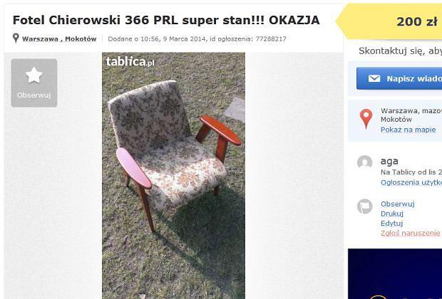 Fotel na popularnej stronie ogłoszeń lokalnych kosztuje 200 zł. W