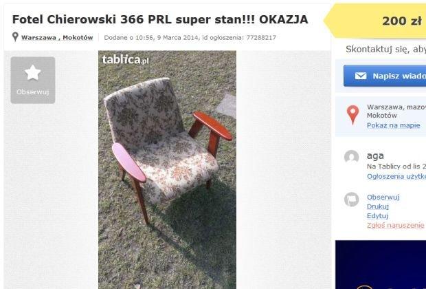 Fotel na popularnej stronie og�osze� lokalnych kosztuje 200 z�. W