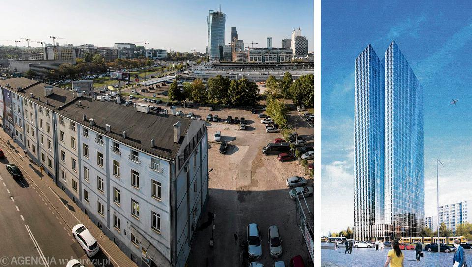Budynek przy ul. Srebrnej 16 w Warszawie oraz wizualizacja planowanego wieżowca.