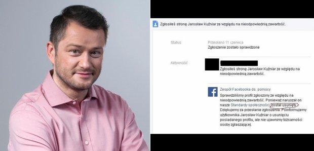 Konto na Facebooku Jaros�awa Ku�niara usuni�te. Dlaczego? Zosta�o zg�oszone przez u�ytkownik�w serwisu