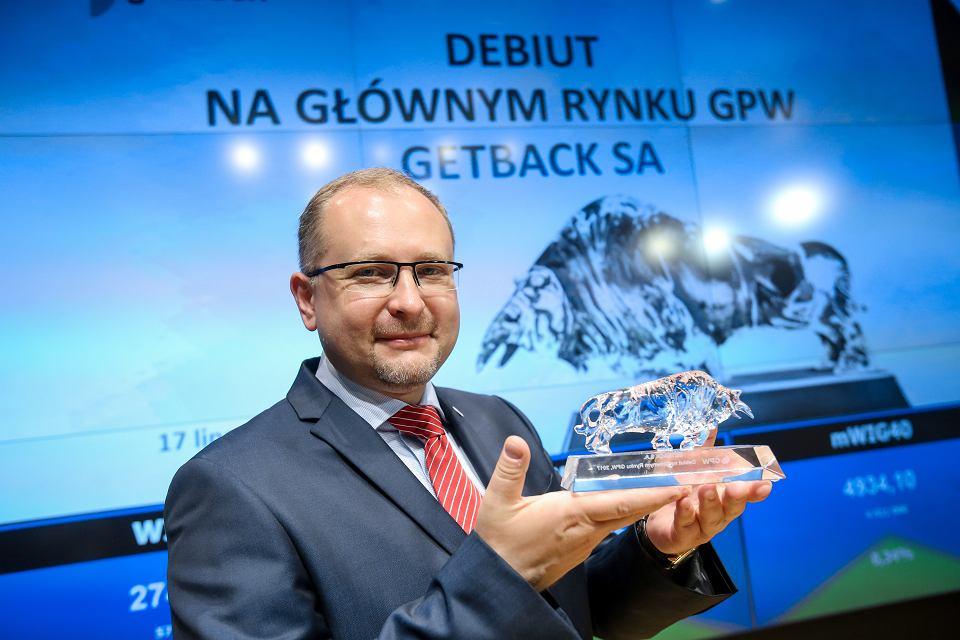 Prezes GetBack Konrad Kąkolewski podczas debiutu spółki na Giełdzie Papierów Wartościowych w Warszawie, 17 lipca 2017 r.