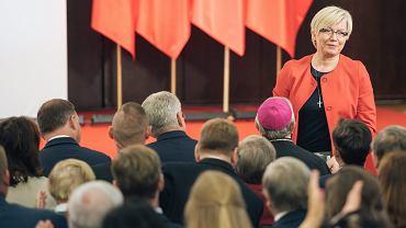 Piąty sędzia TK mianowany przez PiS -  Julia Przyłębska podczas debaty 'Konstytucja dla obywateli, nie dla elit?'. Gdańsk, Sala BHP w Stoczni, 25 sierpnia 2018