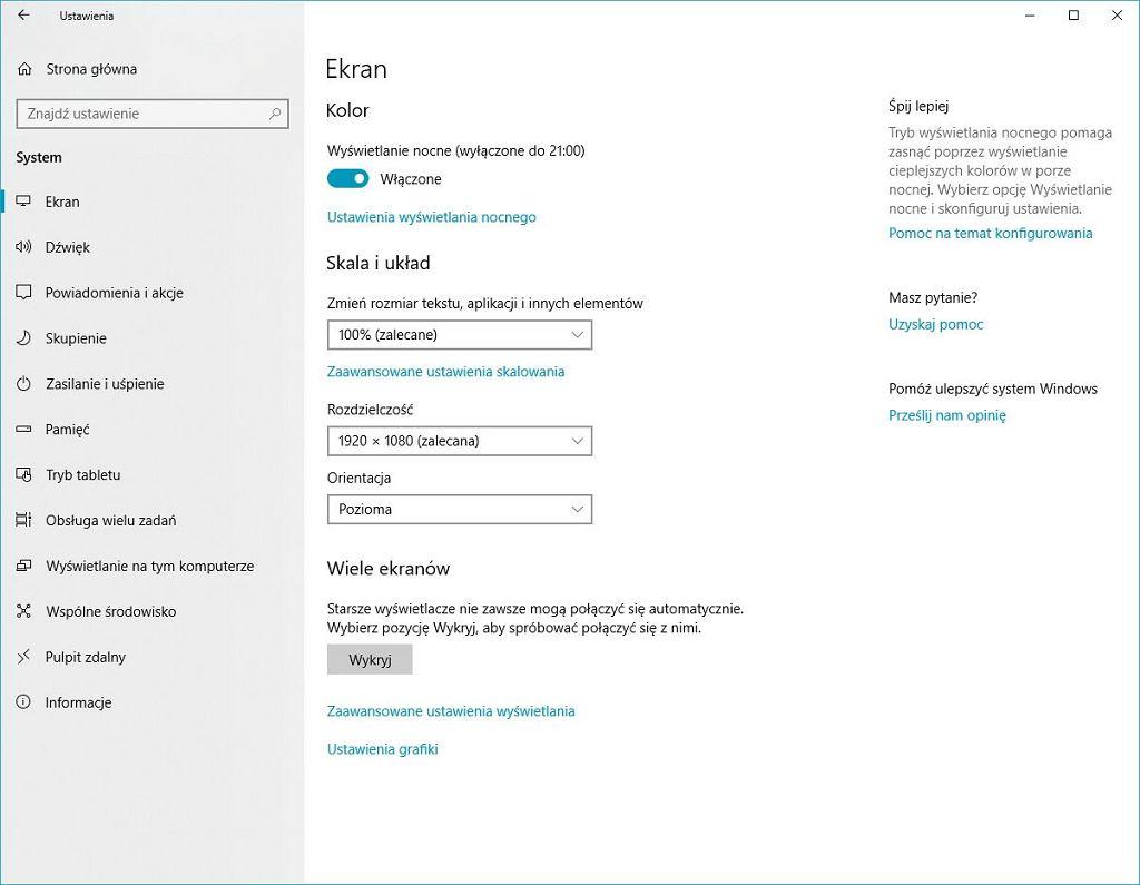 Tryb nocny w Windows 10