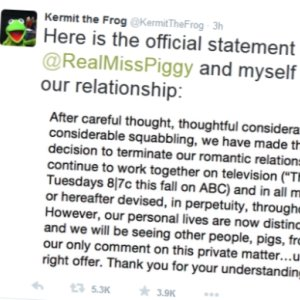 Miss Piggy i �aba Kermit rozstali si�. Kermit og�osi� to na Twitterze