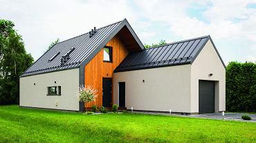 Mazowsze: dom z równoległym garażem.