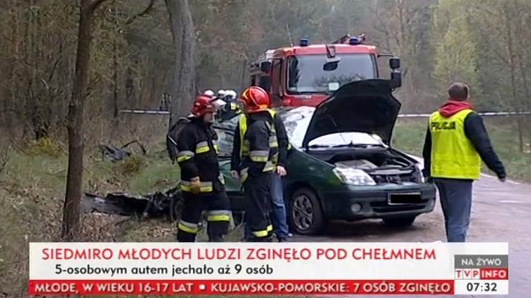Rozbity pod Chełmnem samochód
