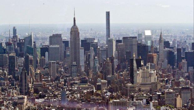 Panorama Nowego Jorku widziana z punktu widokowego wieżowca One World Trade Center