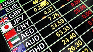 Kursy walutowe wyświetlane na elektronicznej tablicy