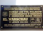 Tablica przy kościele Matki Bożej Królowej Męczenników upamiętniająca zamordowanych w obozie KL Warschau