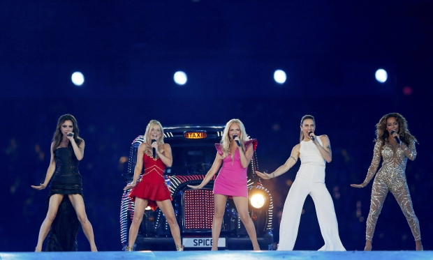 The Spice Girls perform during the closing ceremony of the London 2012 Olympic Games at the Olympic Stadium, August 12, 2012.             REUTERS/Stefan Wermuth (BRITAIN  - Tags: SPORT OLYMPICS ENTERTAINMENT)