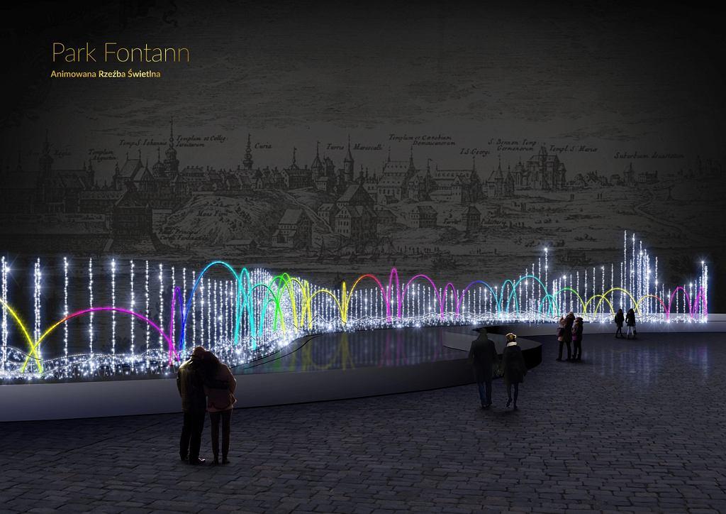 Wizualizacja iluminacji w Parku Fontann / materiały prasowe