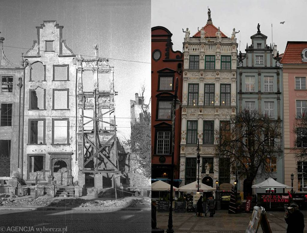 Zdj�cie po lewej, autorstwa Wies�awa Gruszkowskiego, przedstawia Gda�sk zaraz po wojnie. Po prawej - stan obecny