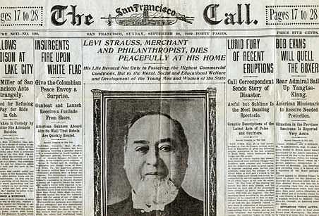 levis, jeansy, logo z klasą, : człowiek, który dał nam dżinsy, Levi Strauss umiera w 1902r.