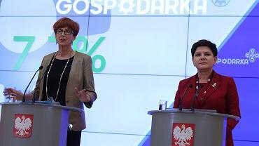 Minister rodziny, pracy i polityki społecznej Elżbieta Rafalska i premier Beata Szydło