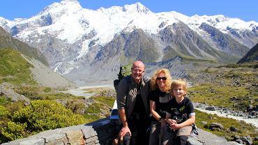 Szymon z rodzicami w Nowej Zelandii