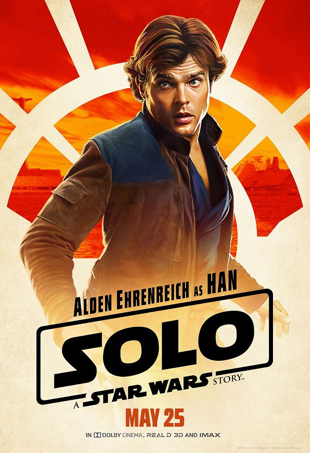 Alden Ehrenreich jako Han Solo na plakacie filmu 'Han Solo: Gwiezdne wojny - historie'