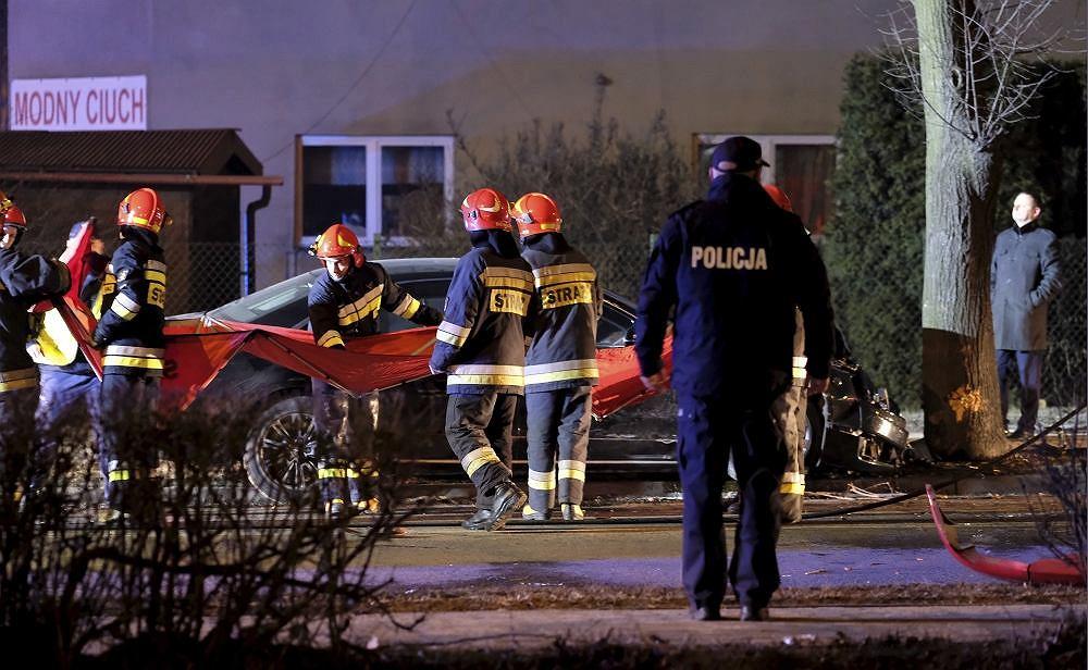 Oświęcim, miejsce wypadku premier Szydło (fot. PAP/Andrzej Grygiel)