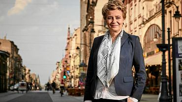 Prezydent Łodzi Hanna Zdanowska na ulicy Piotrkowskiej