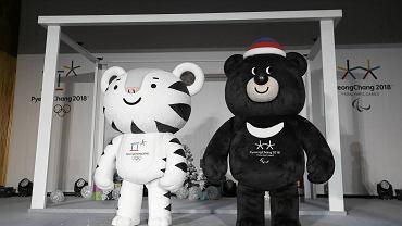 Biały tygrys Soohorang i niedźwiedź brunatny Bandabi - maskotki igrzysk Pjongczang 2018
