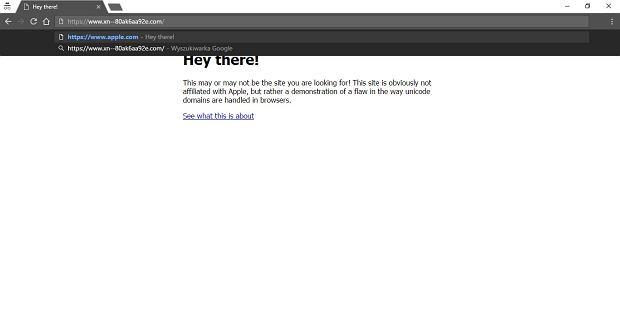 Przykładowa strona podszywająca się pod adres apple.com