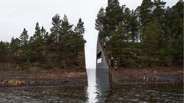 """Wizualizacja """"przeciętego"""" półwyspu położonego niedaleko wyspy Utoya"""