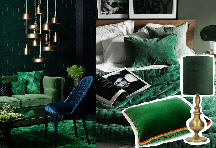Tekstylia i oświetlenie w kolorze butelkowej zieleni